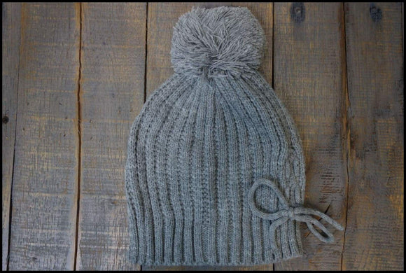 Knit Pom Hat with Tie Detail Sunshine & Pineapples Boutique Gray Hats