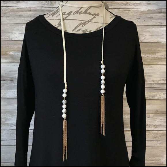 Leather Beaded Tassel Necklace Ann Paige Designs Necklace