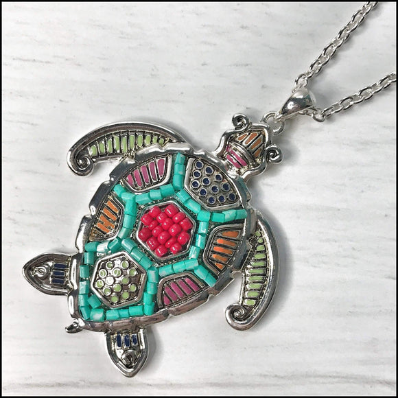 Mosaic Crab and Sea Turtle Long Necklaces Sunshine & Pineapples Boutique Sea Turtle Necklace