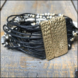 Multi Strand Leather Beaded Bracelet With Magnetic Clasp Ann Paige Designs Brown Bracelet