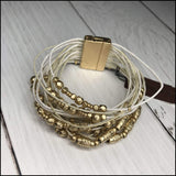 Multi Strand Leather Beaded Bracelet With Magnetic Clasp Ann Paige Designs Ivory Bracelet