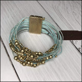 Multi Strand Leather Beaded Bracelet With Magnetic Clasp Ann Paige Designs Sea foam Bracelet