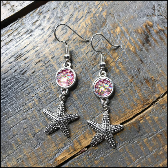 Pink Mermaid Scale Starfish Earrings Sunshine & Pineapples Boutique Earrings