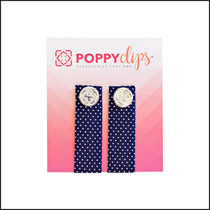 PoppyClips-Prints Poppy Clips Navy & White Polka Dot/Silver Poppy Accessories