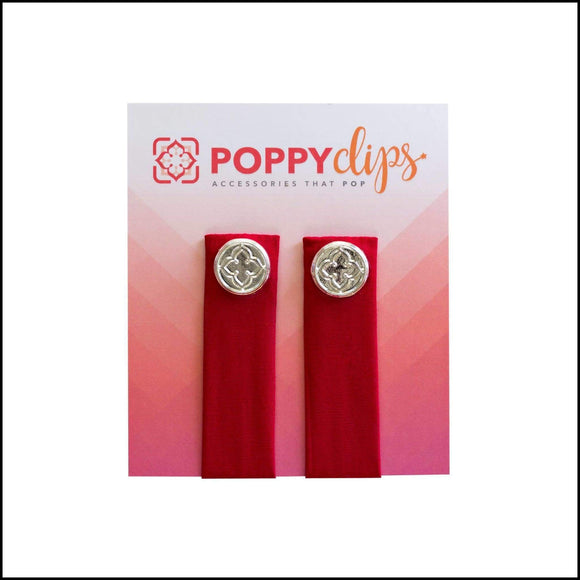 PoppyClips-Solid Colors Poppy Clips Red/Silver Poppy Accessories