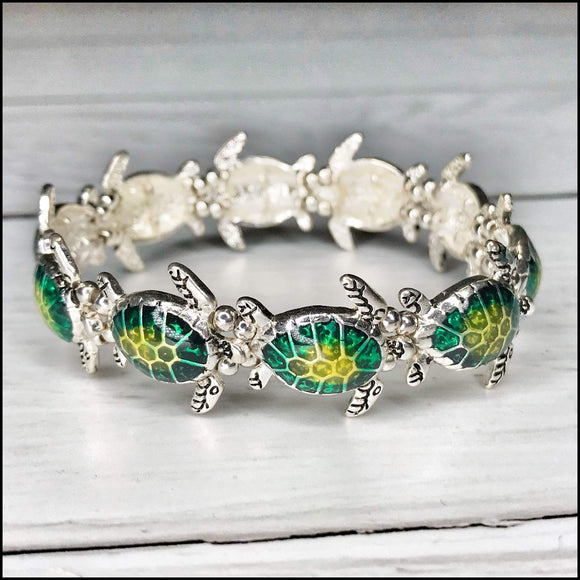 Sea Life Enamel Stretch Bracelet - Sea Turtle - Crab - Seashell Sunshine & Pineapples Boutique Sea Turtle Bracelet