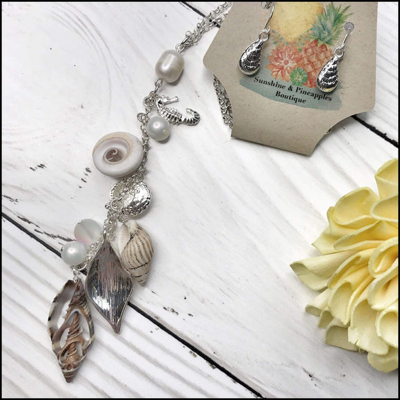 Seashell Drop Charm Pendant Necklace and Earring Set Sunshine & Pineapples Boutique Necklace