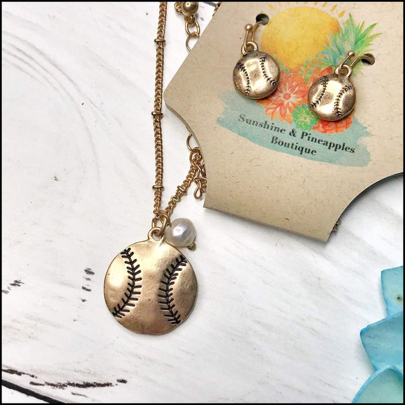 Worn Goldtone Baseball Necklace and Earring Set Sunshine & Pineapples Boutique Necklace