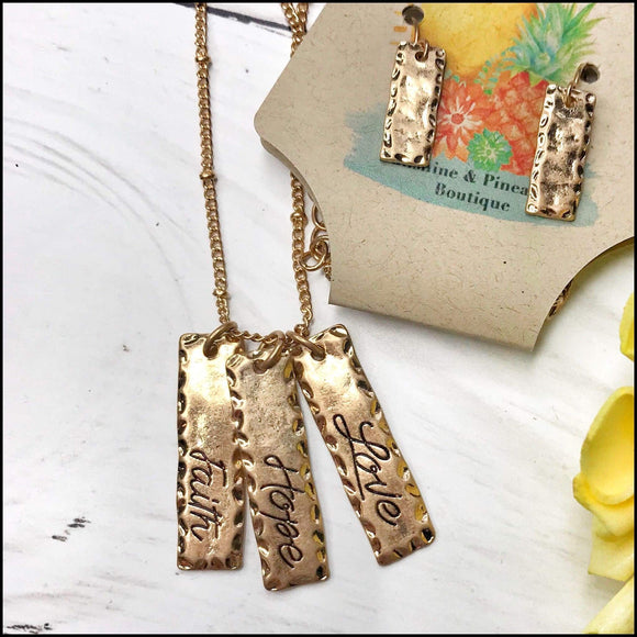 Worn Goldtone 'Faith Hope Love' Triple Bar Necklace and Earring set Sunshine & Pineapples Boutique Necklace
