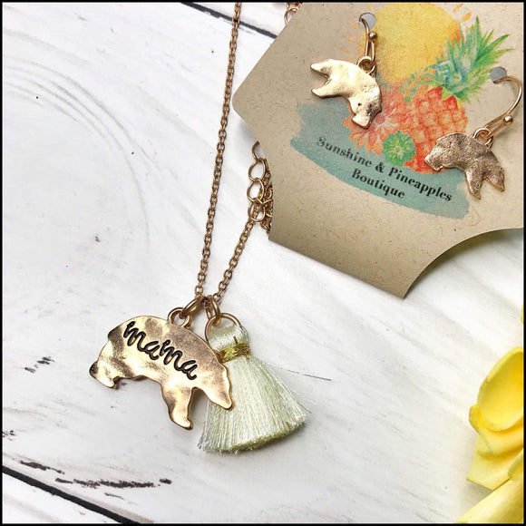 Worn Goldtone 'Mama' Bear and Ivory Tassel Necklace and Earring Set Sunshine & Pineapples Boutique Necklace