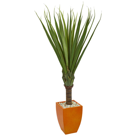 5.5' Spiky Agave Artificial Plant In Orange Planter
