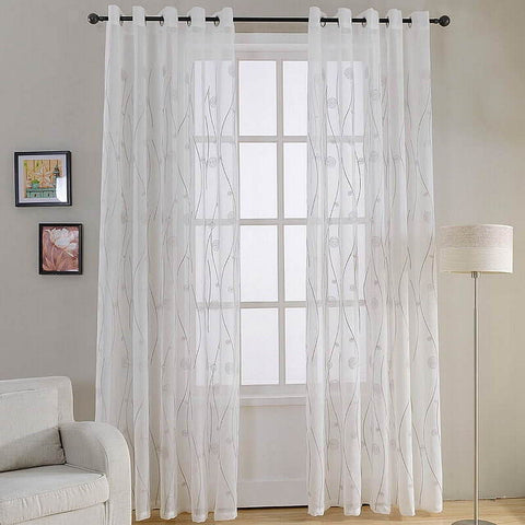 Naples, White Window Sheer Curtain Panel - Dolce Mela DMC488