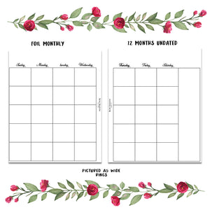 Monthly insert Undated Bundle 12 months