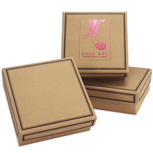 8 oz Sq Cover 1 layer Kraft w/Brown Border (250/cs)