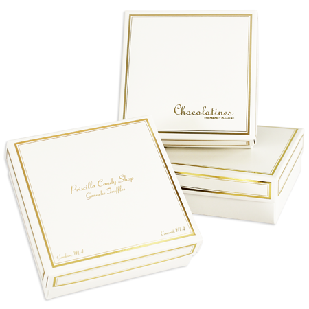 8 oz Sq Cover 1 layer White w/Metallic Gold Border (250/cs)