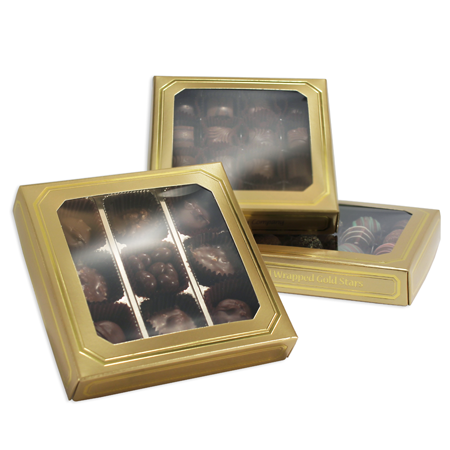 8 oz Sq Cover 1 layer square window Gold Lustre w/Metallic Gold Border (250/cs)
