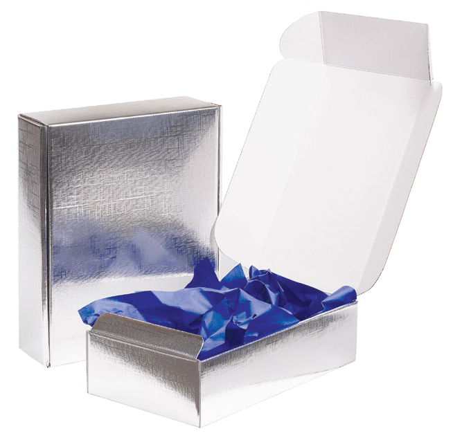 Silver E-Commerce Boxes & Shippers, Made in Italy