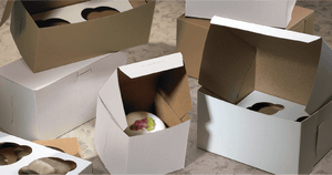 White Bakery Boxes without Windows, Kraft Inside, 1 Piece Lock-Corner Style