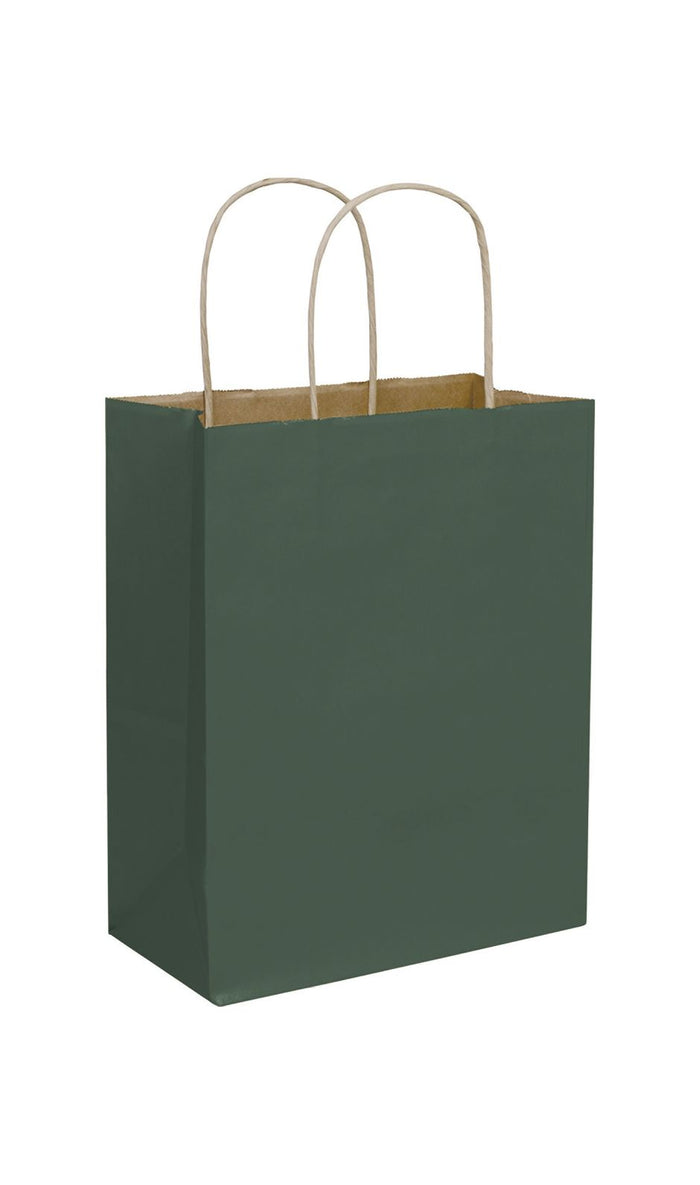 Forest Green Paper Shopping Bags