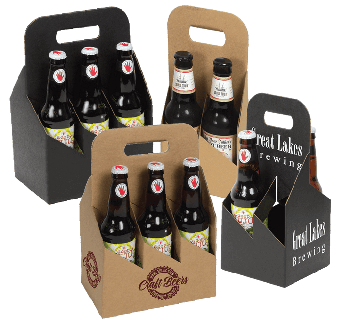 Open Style Bottle Carriers - Smooth Natural Kraft