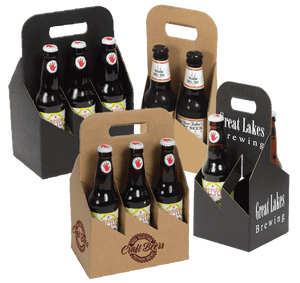 Open Style Bottle Carriers - Smooth Black Kraft