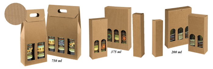 Textured Rib Bottle Boxes and Carriers (Nat Kraft Oil/Vinegar Bottle Boxes)