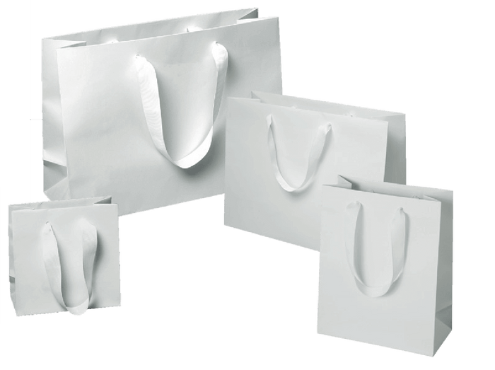 Matte White Manhattan Shoppers (Ribbon Handles)