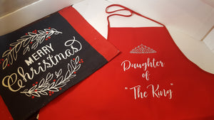 "Red Apron "" with your choice  ""Daughter of ""the King"""