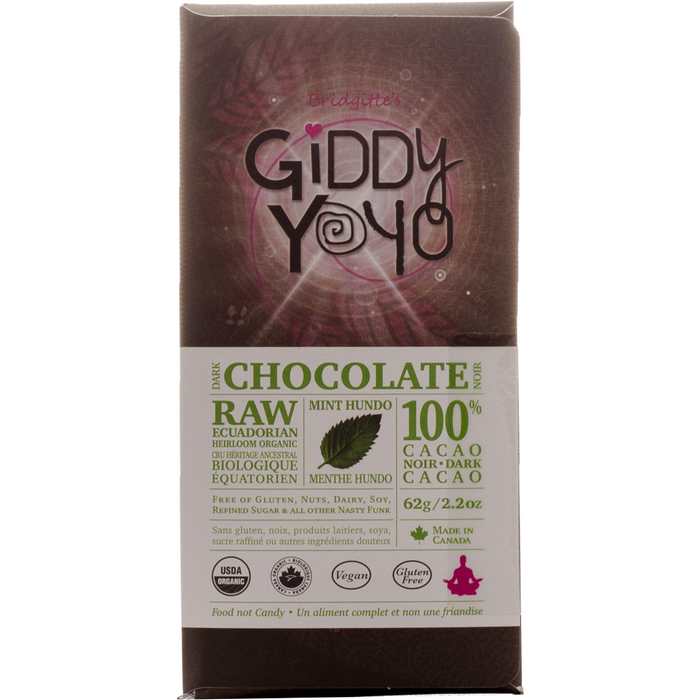 Giddy Yoyo Mint Hundo 100% Dark Chocolate Bar