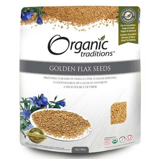 Organic Traditions Golden Flax Seeds 454g.