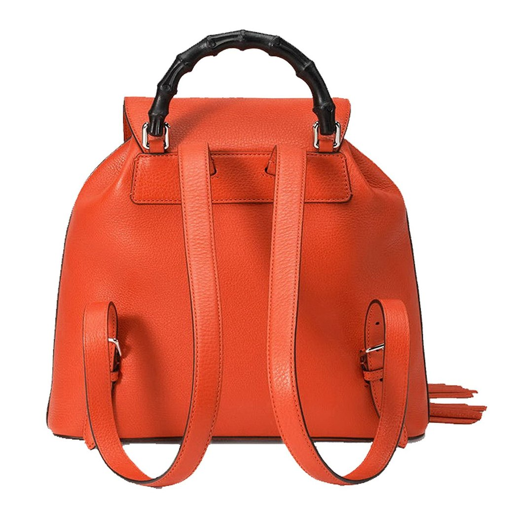 e27abd049156 ... Gucci Bright Orange Leather Bamboo Satchel Backpack - Image Candy ...