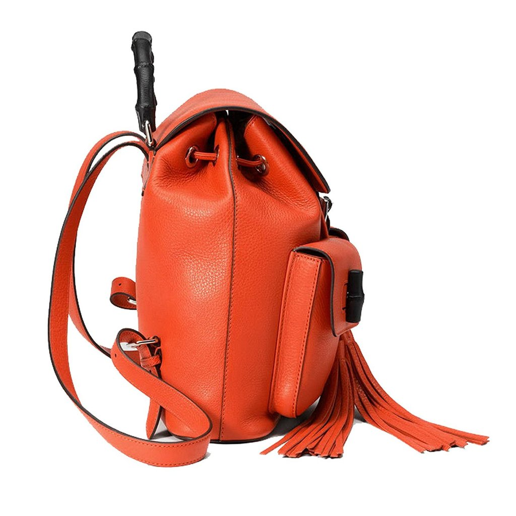1a3cdb5ca97 ... Gucci Bright Orange Leather Bamboo Satchel Backpack - Image Candy ...