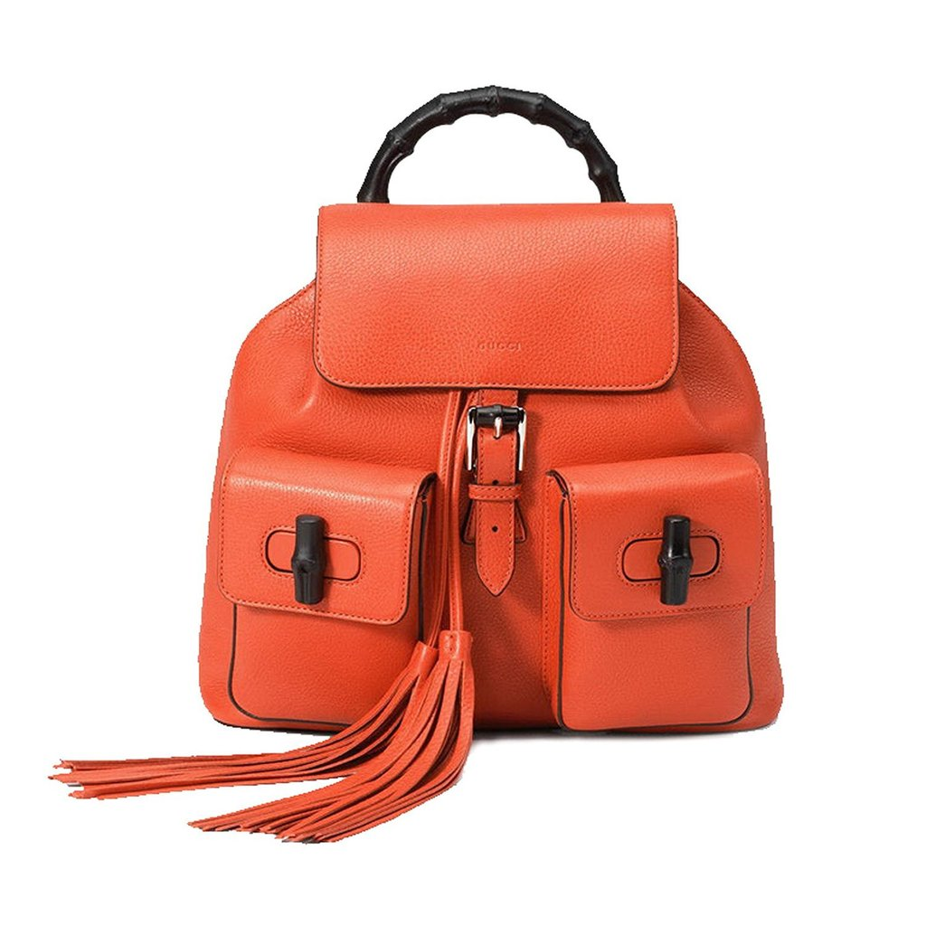 70d29ebfb184 Gucci Bright Orange Leather Bamboo Satchel Backpack - Image Candy ...