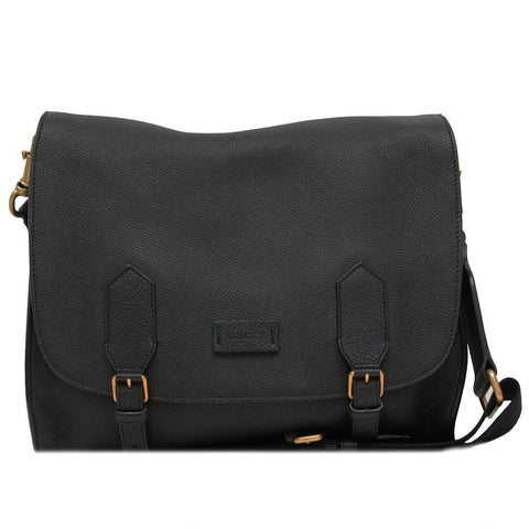 GUCCI Men's Black Leather Messenger Bag