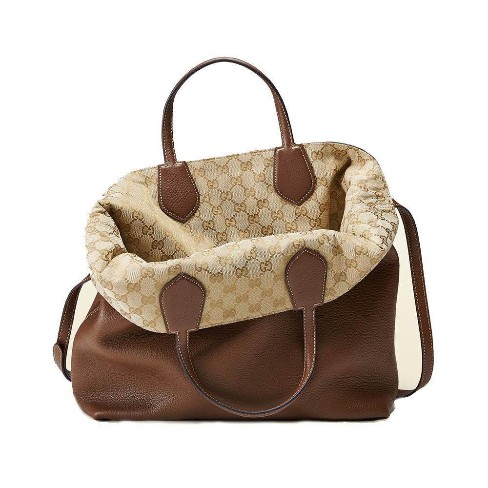 3d4ab69a66dd Gucci Brown Ramble Reversible Leather and Original GG Canvas Tote - Image  Candy ...