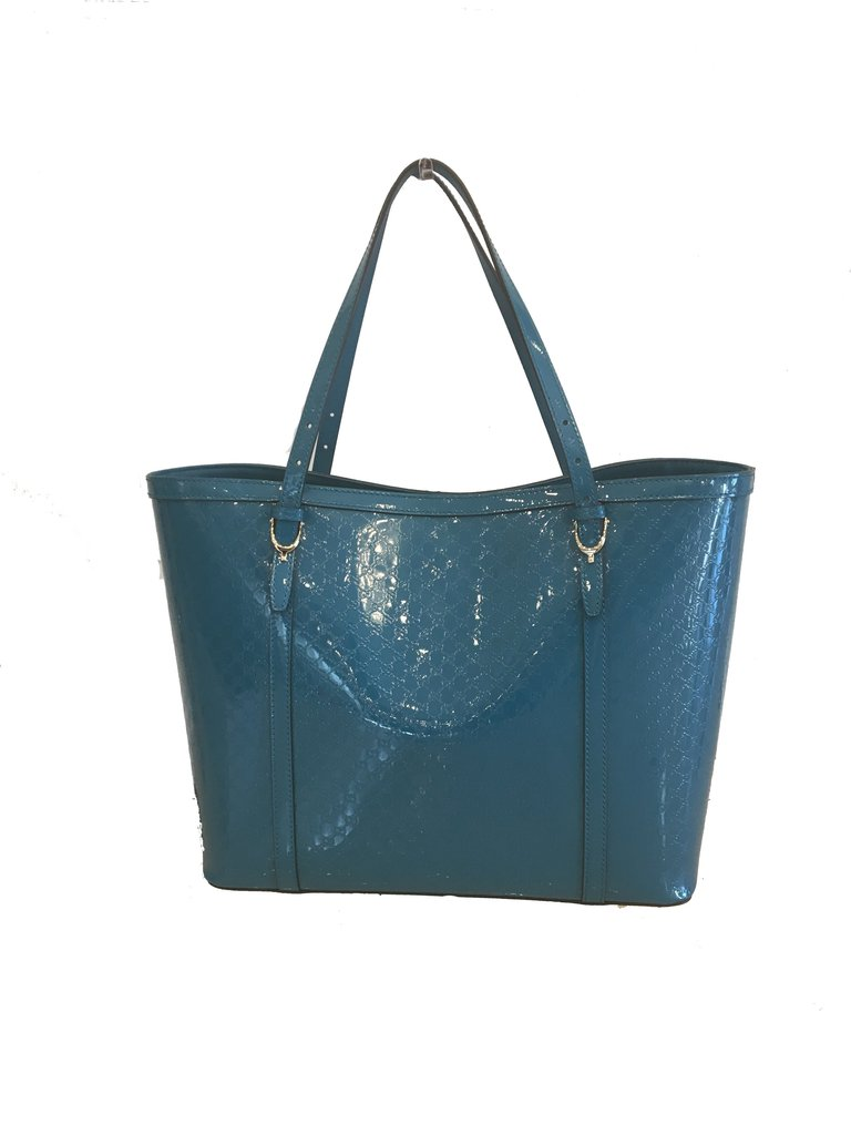 72fd0dc8d76 Gucci Blue Women s Vernice Microguccissima Leather Tote – Image Candy