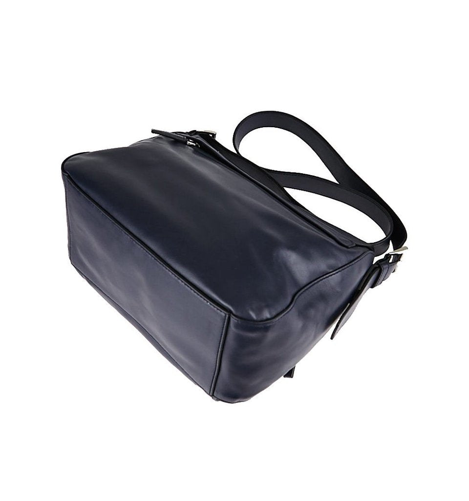 95f6136cacb181 ... PRADA Navy Baltico Soft Calfskin Leather Messenger Bag - Image Candy ...