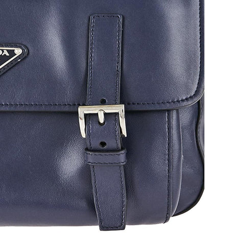 PRADA Navy Baltico Soft Calfskin Leather Messenger Bag