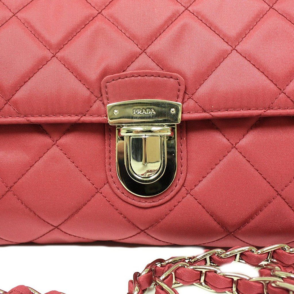 8b411535ef61 ... Prada Ibisco Pink Quilted Leather with Chain Cross Body Bag - Image  Candy ...