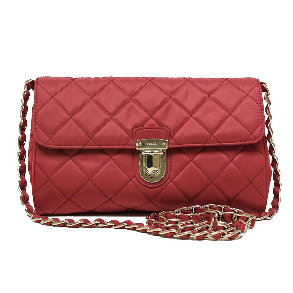 63230a265017 Prada Ibisco Pink Quilted Leather with Chain Cross Body Bag - Image Candy  ...