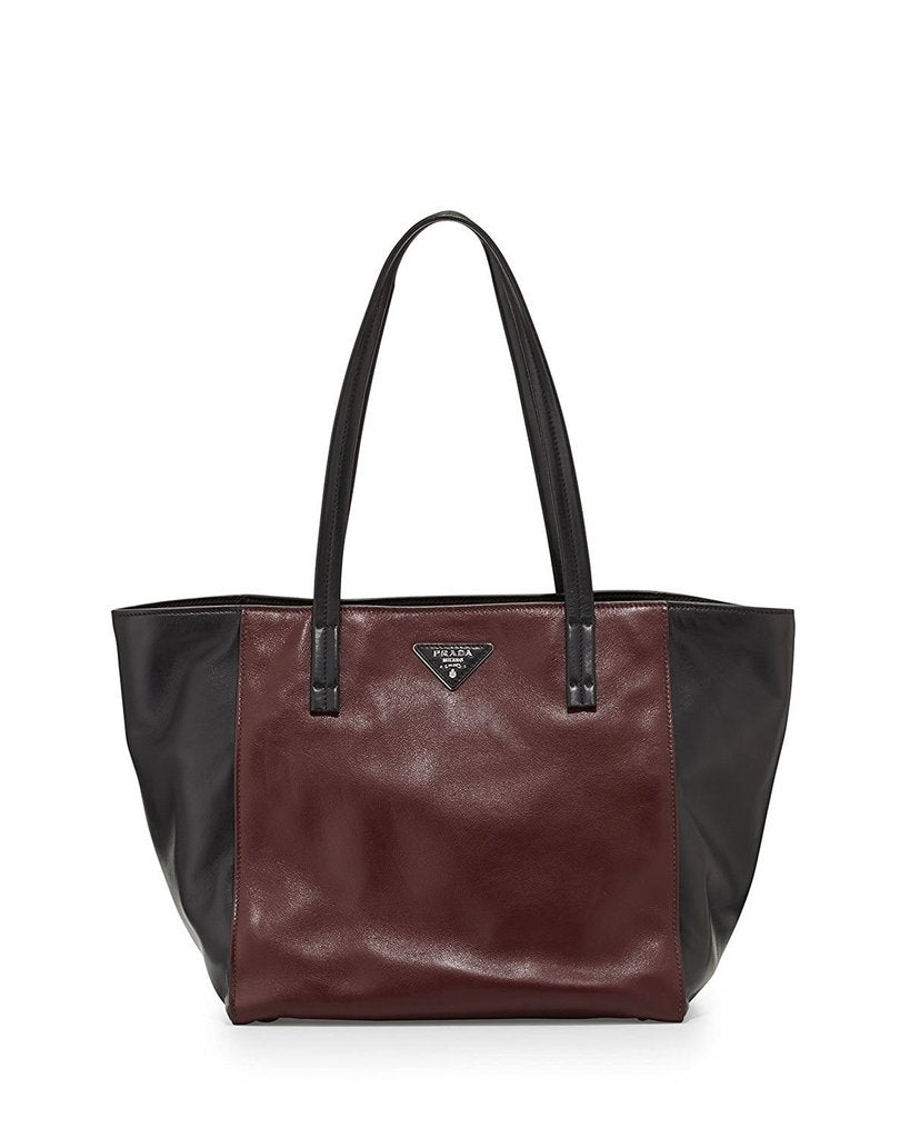 3331a9d70933a2 ... reduced prada black and brown soft calf leather tote image candy 7865e  42b30