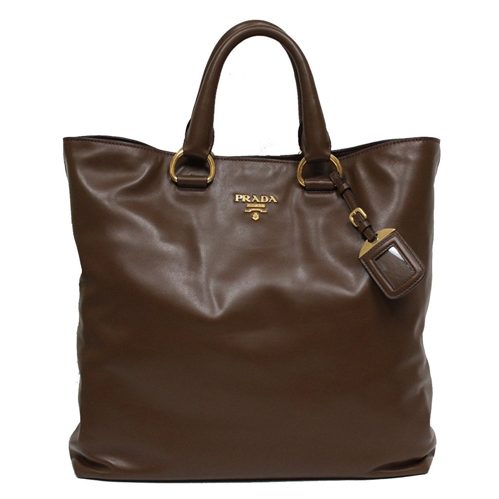 baf7fc1df7 ... authentic prada coffee brown soft calf leather tote bag image candy  8c0e1 9412b