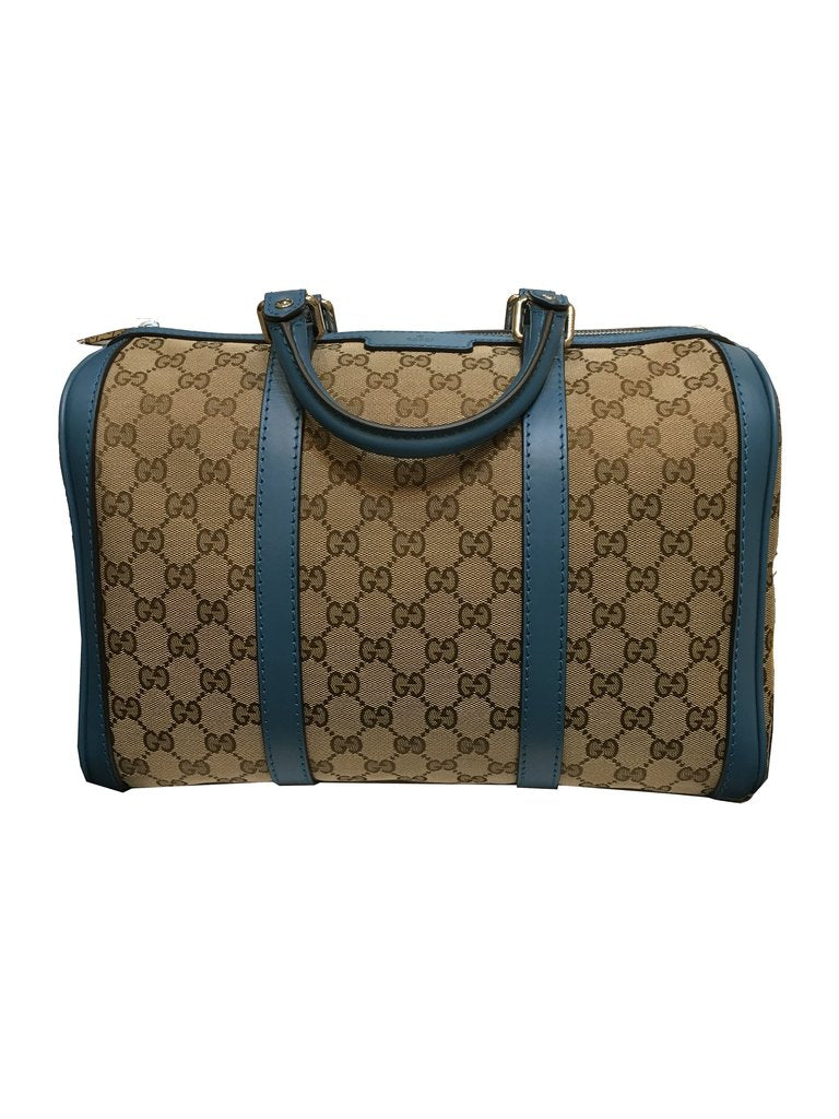 d94a39f3707 Gucci Beige with Blue Trim GG Canvas Boston Satchel - Image Candy ...