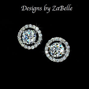 designer women simulated paved earrings earring pearl white cz for bridal diamond wedding stud