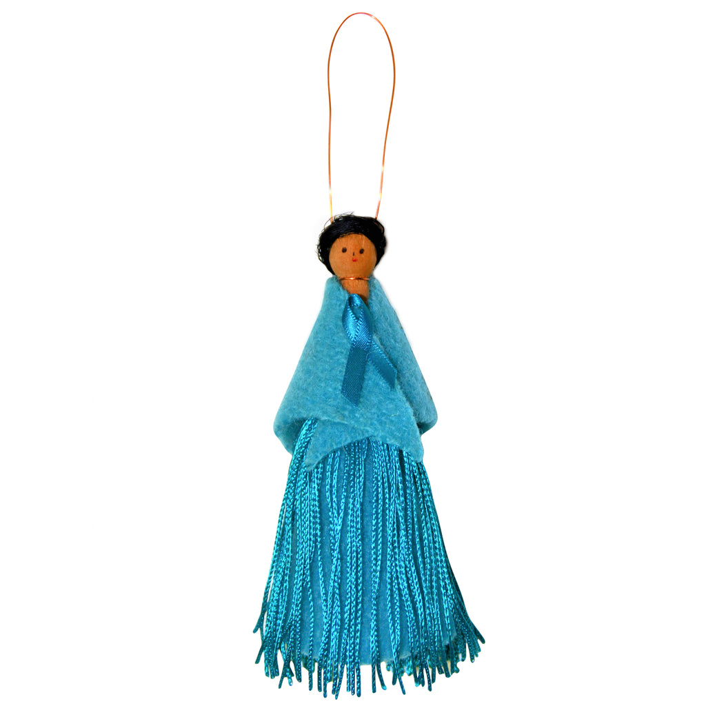 Su McPherson New Zealand Gynaecological Cancer Foundation Peg Doll Teal Fringe Dress