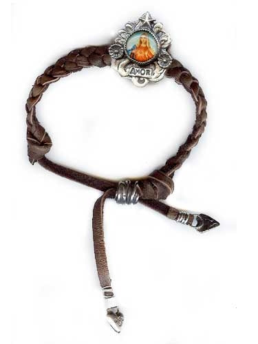 Amor on Braided Leather Bracelet