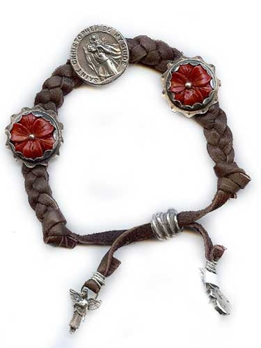 St. Christopher on Braided Leather Bracelet