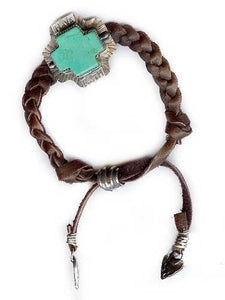 Have Faith on Braided Leather Bracelet