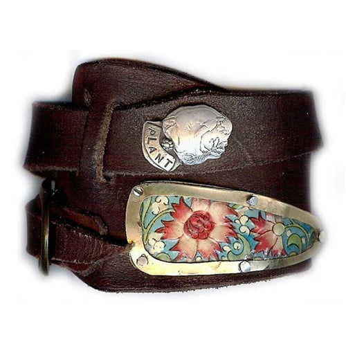 """Plant"" Asymmetrical Leather Wrap Bracelet, Floral"