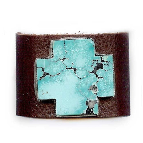 Turquoise Cross Leather Cuff Bracelet